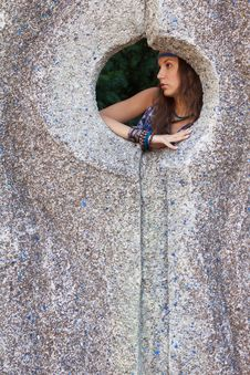 Free Woman In A Sundress At The Stone Wall Stock Photo - 24099900