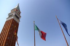 Venice Tower And Flags Royalty Free Stock Photos