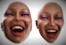 Free Happy Female Heads 4 Stock Images - 2412134