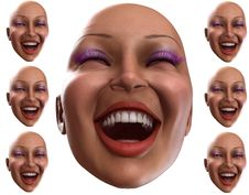 Free Happy Female Heads 5 Royalty Free Stock Photos - 2412148