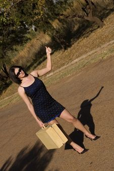 Free Standing With Suitcase Shadow Stock Photos - 2418493