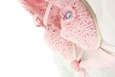 Free Romantic Background With Lace Nad Pink Shoes Royalty Free Stock Photos - 24101118