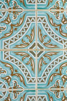Traditional Portuguese Azulejo Tile Stock Photo