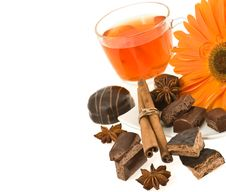 Free Tea, Chocolate, Anise, Cinnamon, Flower Of Gerbera Royalty Free Stock Images - 24103279