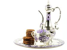 Free Metal Set For Tea And Cookie Stock Photo - 24106690