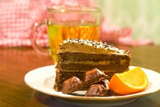 Free Chocolate Cake And Fruit Stock Photography - 24107352