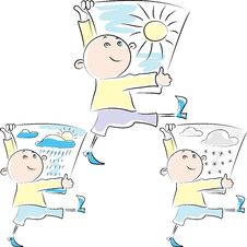 Free Vector Cartoon Man Carries A Poster Stock Images - 24109034