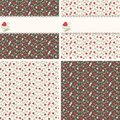 Free Romantic Seamless Patterns With Hearts And Roses Royalty Free Stock Photos - 24115658