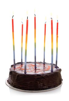Isolated Objects: Cake With Rainbow Candles Royalty Free Stock Images