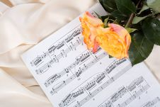 Free Roses On Sheet Music Royalty Free Stock Photos - 24113608