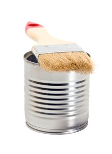 Free Tin Paint And Paint Brush Stock Photo - 24114550