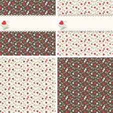 Romantic Seamless Patterns With Hearts And Roses Royalty Free Stock Photos