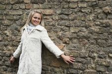 Free Young Happy Woman In White Fur Coat Royalty Free Stock Image - 24116796