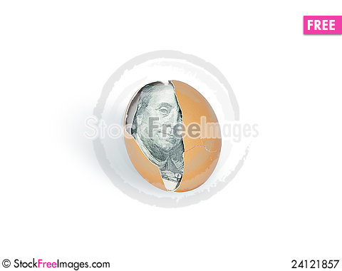Free Dollar Into Egg Royalty Free Stock Photography - 24121857