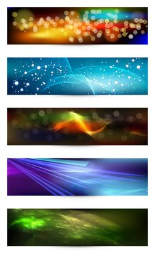 Free Set Of Elegant Iridescent Banners. Stock Images - 24125284