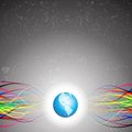 Free Abstract Colorful Lines Emerging From Planet Earth Royalty Free Stock Image - 24132306