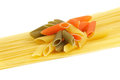 Free Italian Pasta Spaghetti And Penne Rigate Tricolore Stock Photography - 24139842