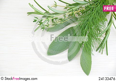 Free Culinary Herbal Leaves On The Board Royalty Free Stock Image - 24133476