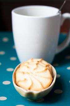 Free Plate Of Cookies And A Cup Of Coffee Stock Photos - 24130323