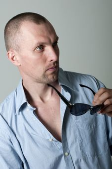 Serious Young Man In Sunglasses Stock Photos