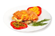 Free Meat With Cheese And Vegetables Stock Photos - 24134283