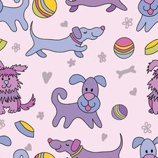 Free Funny Dogs Seamless Pattern Royalty Free Stock Photos - 24139038