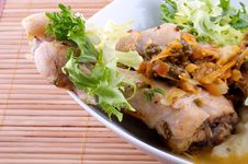 Roasted Chicken Legs With Vegetables Saute Stock Photos