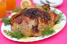 Baked Chicken On The Dinner Table Stock Image