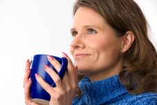 Free Caucasian Woman Holding Teacup Royalty Free Stock Photography - 24145137