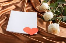 Free Card With White Roses And A Paper Heart Royalty Free Stock Photo - 24145305