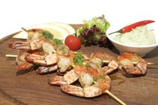 Skewers Of Shrimp Royalty Free Stock Photos