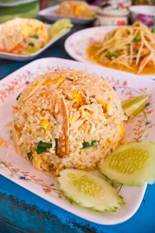 Thai Fried Rice With Crab Royalty Free Stock Photo