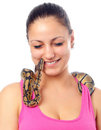Free Cute Smiling Teenage Girl  With Python Royalty Free Stock Photos - 24153818