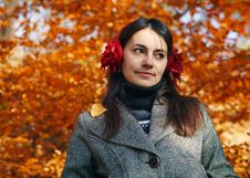 Free Woman In Autumn. Royalty Free Stock Photography - 24151387