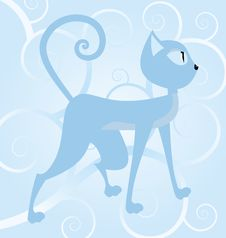Free Blue Cat On Spiral Background Stock Photo - 24152710