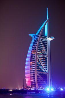 Free Burj Al Arab At Night Stock Images - 24153884