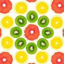 Free Pattern From A Kiwi, A Lemon And Grapefruit Royalty Free Stock Images - 24154859