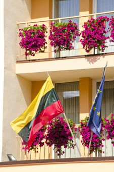 Lithuania And European Union Flag Hanging Stock Images