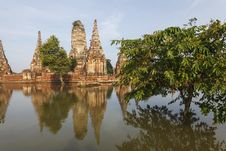 Free Floods Chaiwatthanaram Temple At Ayutthaya Stock Image - 24156161