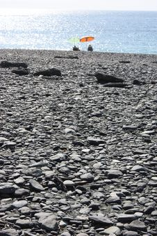 Black Pebble Beach Stock Photo