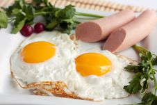 Free English Breakfast - Fried Eggs And Sausages Stock Photo - 24162620