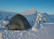 Free Tent And Mt. Baker Stock Image - 24163471