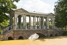 Marble Bridge , Tsarskoye Selo , Russia. Royalty Free Stock Images