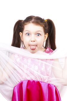 Free Little Funny Expressive Girl With Her Tongue Out Royalty Free Stock Images - 24164719