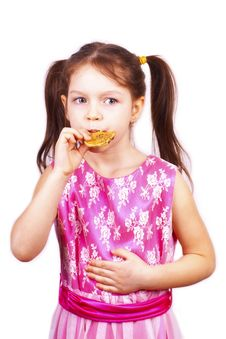 Free Portrait Of  Little Sweet Girl Eating Cookie Stock Photo - 24164760