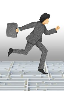 Free Business Man With Briefcase Running On Maze Royalty Free Stock Photography - 24170497