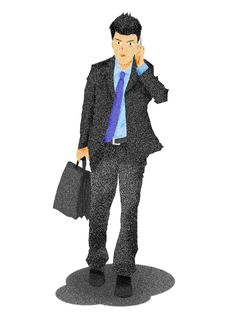 Free Business Man On The Phone Carrying A Suitcase Royalty Free Stock Photos - 24170528