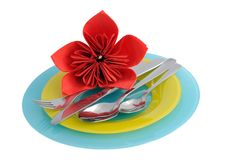 Free A Set Of Cutlery On A Plate With Royalty Free Stock Photo - 24170565