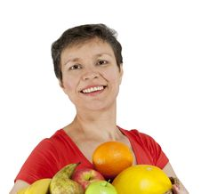 A Happy Smiling Middle-aged Woman Stock Images