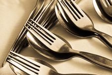 Close-up Of Spoon And Fork Stock Image